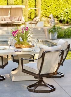 An exotic oasis of comfort, the Andalusia Seating Collection captures the diverse landscape of Spain's southern jewel. Architectural splendors, such as handsome grillwork windows and wrought iron balustrades, heavily influence this sand-cast, powdercoated aluminum collection.    Frontgate: Live Beautifully Outdoors