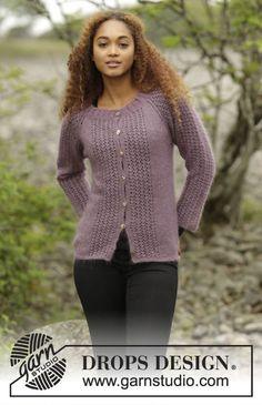 Touch of Heather Cardigan, gilet raglan Drops avec point ajouré, tricoté de haut en bas