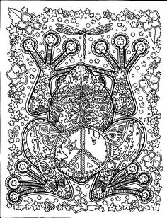 Free coloring page coloring-adult-big-frog. Coloring page of big frog with harmonious patterns