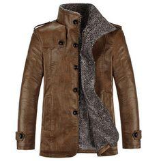 La calidad de la PU cuero de corte slim de felpa de los hombres espesa campera de abrigo - Banggood Móvil