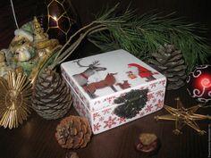 """Купить """"Встреча"""" - комбинированный, белый цвет, новогодняя шкатулка, шкатулка, шкатулки, шкатулка для украшений"""