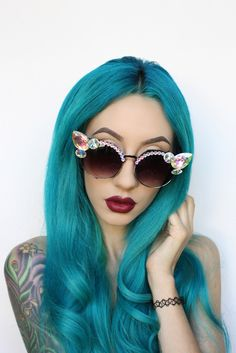 turquoise hair. Get the look with #PRAVANA #Chromasilk #Vivids