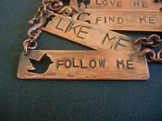 Copper Necklaces  Social Media Like Me by KirstenDenbowDesigns