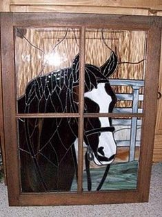 "Anybody home? ""Touch-o-glass"" horse looking thru window"