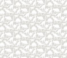 Little Dinosaur Friends - White Light Grey fabric by jillbyers on Spoonflower - custom fabric