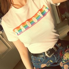 Hippie boho vintage retro 60s 70s: rainbow groovy tshirt  It is printed onto a quality thick neckline t-shirt. It is also unisex PM ME TO BUY. Handmade by myself with my own original design, so please don't copy to also sell on depop ☺️