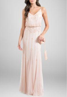 Vestido longo de alcinha trosa todo bordado Adrianna Papell - powerlook-V-MOB