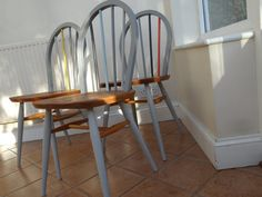 Restored and painted Ercol Windsor chairs Ercol Chair, Ercol Furniture, Retro Furniture, Upcycled Furniture, Furniture Projects, Painted Furniture, Painted Wooden Chairs, Upcycle Home, Open Plan Kitchen Diner