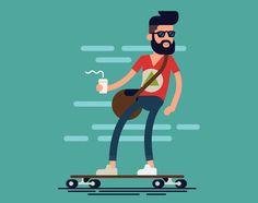Cool vector hipster man character with beard and takeaway coffee riding longboard skateboard. Hipster Illustration, Flat Design Illustration, Character Illustration, House Illustration, Man Character, Character Design, Vector Design, Logo Design, 2d Design