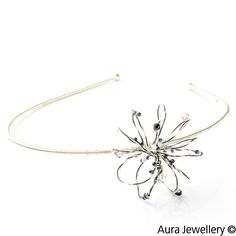 Silver Black Handcrafted Swarovski Crystal Wire Wrapped Hair Band