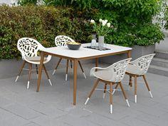 WHITE REEF Stuhl Esszimmer Büro Garten Weiß mit Sitzkissen > Frühbucher-Rabatt