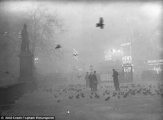 Feed the birds: Trafalgar Square, pictured on December 5, 1952, was still surrounded by pigeons as well as smog. Still there. Another been there done that.