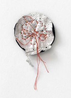 Camilla Prasch Brooch: Rest - Blume, 2015 Cotton, wool, nylon, coated leather, button 6 x 8 x 2.5 Photo by: Søren Nielsen From series: Rest - Blume Metal Jewelry, Jewelry Art, Jewelry Design, Fashion Jewelry, Textile Jewelry, Textile Art, Sustainable Textiles, Contemporary Jewellery, Wearable Art