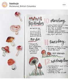 Mushrooms are such a great bullet journal theme for autumn months! As we see them sprouting up more and more. So here are adorable mushroom themes to get you started! Bullet Journal September, How To Bullet Journal, Bullet Journal Ideas Pages, Bullet Journal Spread, Bullet Journal Layout, Bullet Journal Inspiration, Journal Pages, Bullet Journals, Autumn Bullet Journal