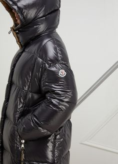 Moncler Parnaiba Long Down Jacket in Black - Lyst Puffer Jackets, Winter Jackets, Puffer Coats, Nylons, Hooded Winter Coat, Winter Parka, Moncler Jacket Women, Black Women Fashion, Womens Fashion