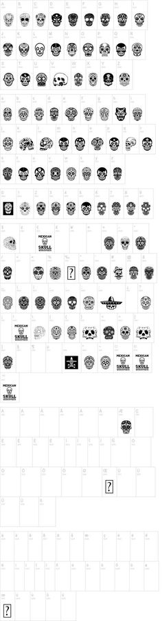 Mexican Skull Font - dingbats of sugar skulls by woodcutter.es #diadelosmuertos #dayofthedead #freefonts 2015 on dafont.com http://www.dafont.com/mexican-skull.font?fpp=100&l[]=10&l[]=1