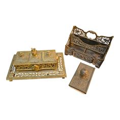 Gorgeous Antique Victorian Style Ornate Collection of Writing and Desk Accessories Includes a cast iron inkwell stand, letter holder and rocking blotter - 3 Piece Set Inkwell stand H D W Letter holder H D W Rocking blotter H D W