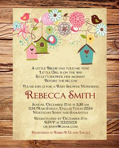 Baby Shower Invitation, Bird houses Baby Shower Invitation, Boy, Girl, Vintage Baby Shower Invite, Birds, Brown, Pink. $18.00, via Etsy.