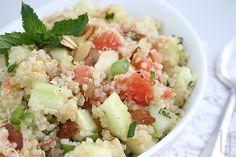 Quinoa, cucumber, grapefruit salad. Served chilled. SO PERFECT FOR SUMMER