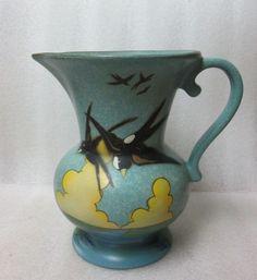 Art Deco DUCHESS ENGLAND Pottery Decor Ewer VASE PITCHER c 1940s Birds in Flight