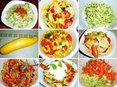 Co z cukety? Cuketový salát na způsob zelí, s rajčaty a mladou cibulkou, salát z cukety jako tzatziky, míchaný salát s balkánským sýrem nebo sýrem feta. Saláty z cukety jsou jiné než saláty okurkové. Tzatziki, Vinaigrette, Fresh Rolls, Vegetable Recipes, Vegetables, Ethnic Recipes, Food, Veg Starter Recipes, Veggies