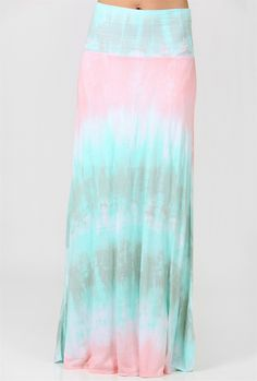 Light and airy, our Tie Dye Crazy Maxi Skirt is too cute! Super comfortable with a fun tie dye pattern of pastels.