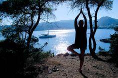 Getting my yoga on in Aegina, Greece