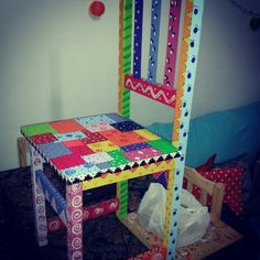 Mis proyectos Toddler Bed, Colorful, Chair, Room, Fun, Crafts, Furniture, Home Decor, Painted Furniture