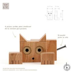 ANIMADEROS / gato en bloques de madera / cat wood blocks