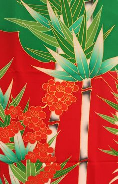 Vintage Silk Kimono Fabric  Bamboo by Orientalvintage88 on Etsy, £15.00