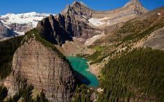 Indir duvar kağıdı Agnes Göl, dağ Gölü, Banff, Alberta, dağlar, Tatlı su Gölü, buzul Gölü, Kanada