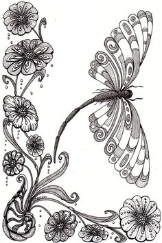 @Amber Ridinger                                    Dragonfly and shell. Beautiful and original whimsical abstract psychedelic stylised Ink drawing illustration dragonfly flower shell