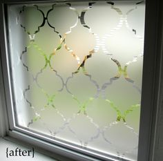Bathroom window with homemade contact paper privacy solution!