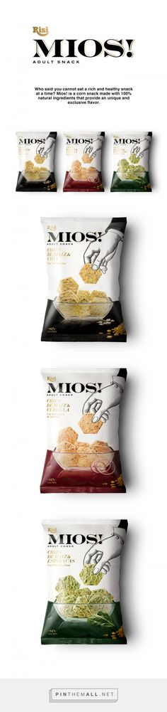 MIOS! adult snacks by Enric Aguilera. Source: Behance. #SFields99 #packaging #design #inspiration #branding #snacks