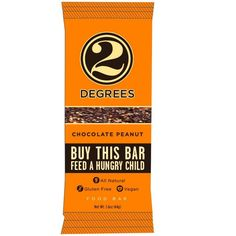 Two Degrees Nutrition Bar - Chocolate Peanut - 1.6 oz Bars - Case of 9