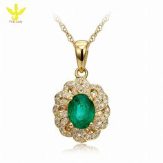 Solid 18K Yellow Gold Natural 1.38ct Emerald & Genuine Diamond Pendants Necklace Fine Jewelry, View Pendants Necklace , First Lady Product Details from Guangzhou First Lady Jewelry Co., Ltd. on Alibaba.com
