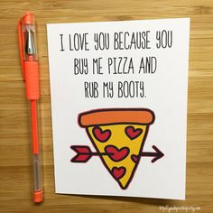 Funny Pizza Love Card Happy Valentines Day Card by YeaOhGreetings