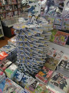 the avant-garde art of book stacking in stores of japan