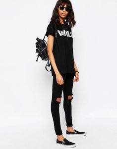 Image 4 of ASOS T-Shirt With Wild Fringed Embroidery