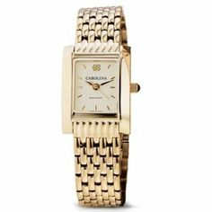 """UNC Women's Swiss Watch - Gold Quad with Bracelet by M.LaHart & Co.. $379.00. Classic American style by M.LaHart. Three-year warranty.. Attractive M.LaHart & Co. gift box.. Swiss-made quartz movement with 7 jewels.. Officially licensed by University of North Carolina. University of North Carolina women's gold watch featuring UNC logo at 12 o'clock and """"Carolina"""" inscribed below on cream dial. Swiss-made quartz movement with 7 jewels. Cream dial with hand-applie..."""