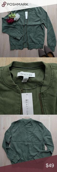 Kenneth Cole Reaction bomber jacket, NWT Tencel bomber jacket with front pockets. Color looks more like on the second picture - olive green. Kenneth Cole Reaction Jackets & Coats