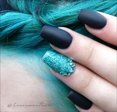 Luminous+Nails+%26+Beauty%2CGold+Coast+QLD.+Matte+Black+%26+Teal+Nails.+Acrylic+%26+Gel+Nails.+Matte+Black+Nails.+Teal+Glitter+Nails.+Nail+Artist.+.jpg (1600×1534)