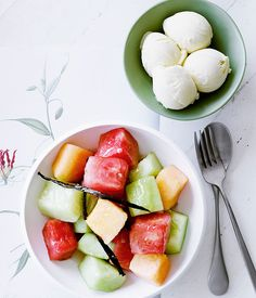 Melon, honey and ginger salad