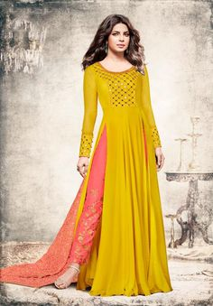 c47a8df62a57 sethnic rich wedding collection 5194 yellow handwork suit with heavy bottom  dupatta