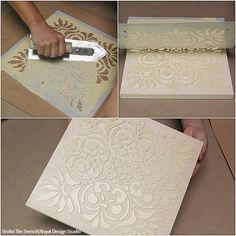 How to Stencil DIY Terracotta Wall Art Tiles with Chalk Paint Tutorial VIDEO Tutorial: How to Stencil DIY Terracotta Wall Art with Royal Design Studio Tile Stencils & Annie Sloan Chalk Paint Metal Tree Wall Art, Diy Wall Art, Diy Art, Metal Art, Stencil Diy, Stencil Designs, Tile Stencils, Stenciling, Tree Wall Stencils