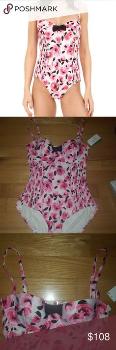 KATE SPADE ?? One Piece Bathing Suit NWT Brand new with tags, authentic. Adorable rose print suit with adjustable straps. Underwire cups provide support and shape. Smocked sides give extra comfort and stretch. Very soft feel. Even more beautiful in person! kate spade Swim One Pieces