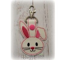 Bunny Key Fob Embroidery Design With Snap Tab