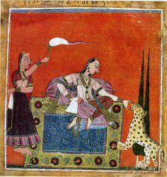 Patmanjari Ragini (second wife of Deepak Raga). Rajput painting Pahari School Basori c.1700