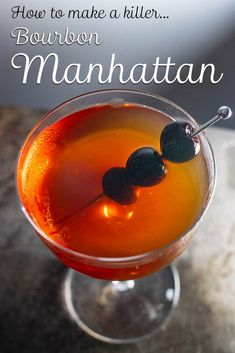 Follow our classic Bourbon Manhattan recipe and learn how to make this classic bourbon cocktail with just four ingredients plus ice. | Bourbon Manhattan | Bourbon Manhattan Recipe | Bourbon Manhattan Cocktail | | Classic Cocktail | Four Roses Bourbon Cocktails, Classic Cocktails, Manhattan Recipe, Manhattan Cocktail, Drinking Around The World, All Beer, Yummy Drinks, Brewery