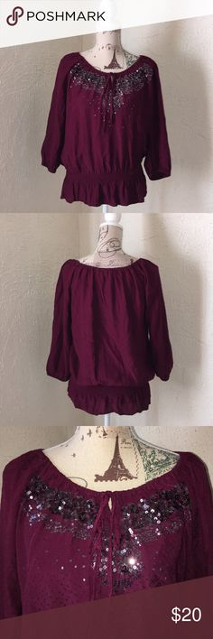 Women's Dress Barn Lovely Plum Peasant Top Large Dress Barn peasant top gently worn with ruffles on collar , sleeve and waist . 3/4 length sleeves . Sequin embellished bodice Dress Barn Tops Blouses
